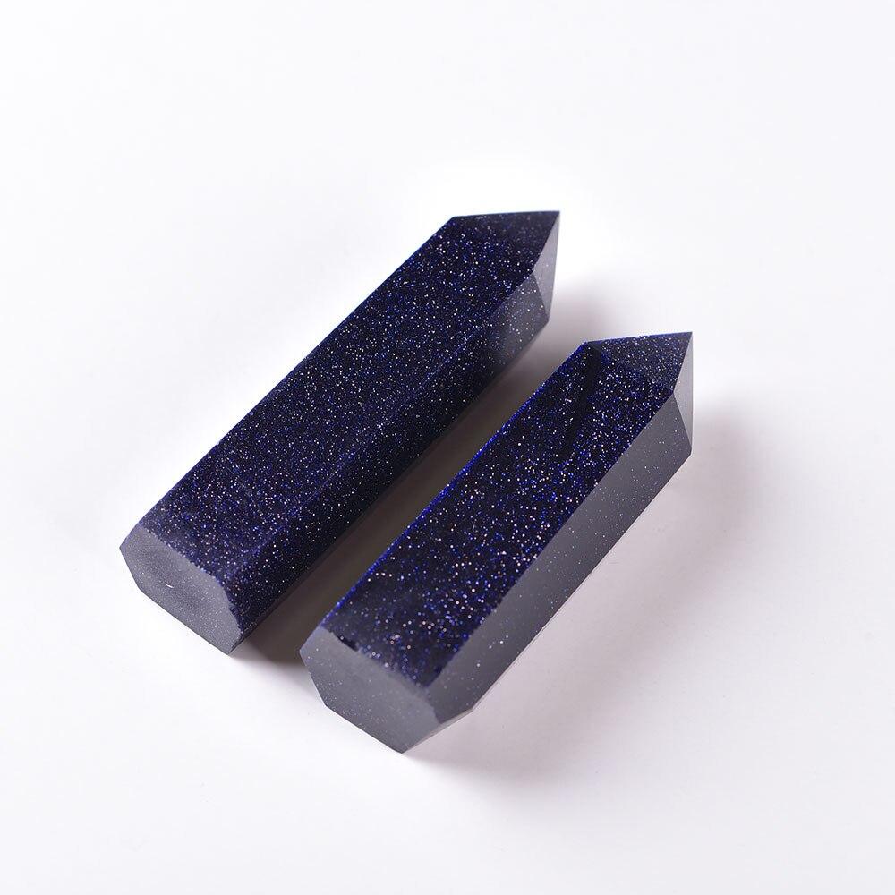 Piedra arenisca azul Reiki, varita única de punto de 5-6cm, Hexagonal, Cristal...