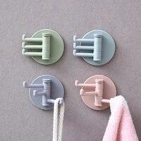 Crochet de rangement rotatif multifonctionnel 3 branches  crochets de rangement sans poincon  salle de bains cuisine crochet mural Invisible