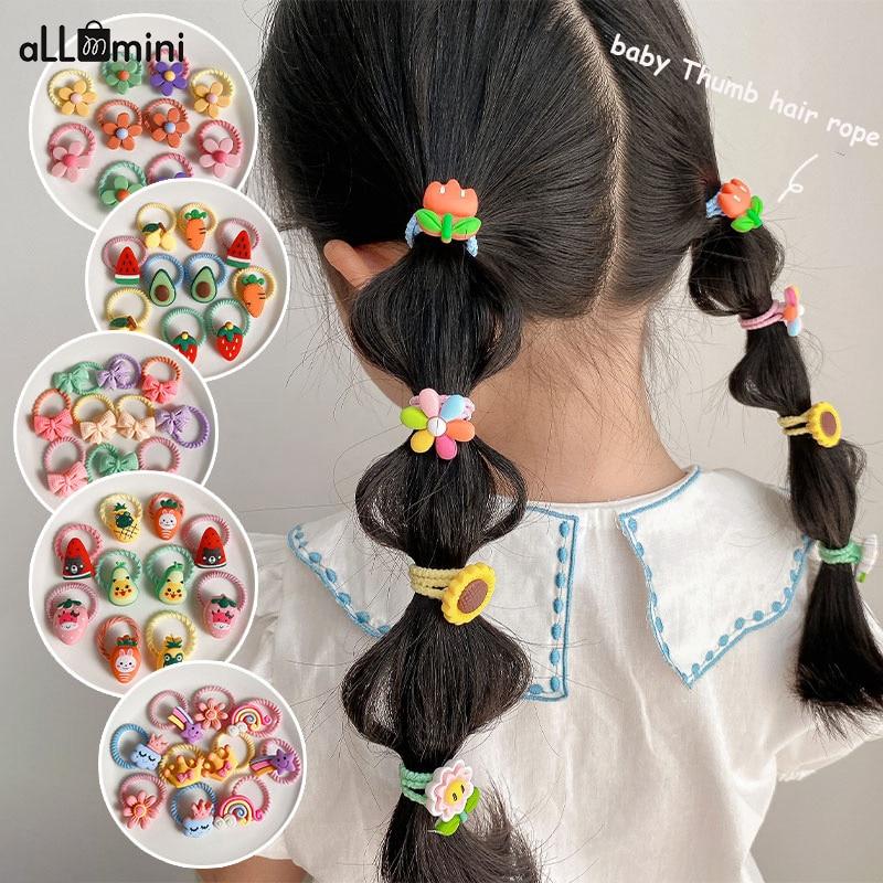 Bande de caoutchouc élastique pour filles, bandes de cheveux arc-en-ciel personnage de dessin animé Fruits fleur couvre-chef fille mignon doux accessoires de cheveux 2021 nouveau