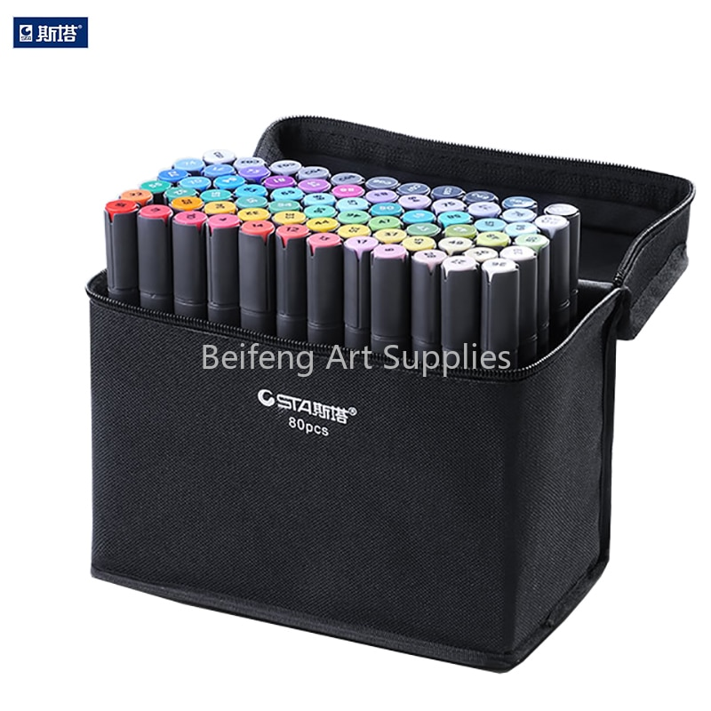 STA 30/40/60/80 Pen Alcohol Ink Alcohol  Marker Set Dual Head Sketch Markers Brush Pen For Draw Manga Design Art Supplies