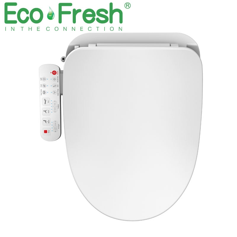 EcoFresh مستديرة مقعد مرحاض ذكي بيديه كهربي غطاء قياسي ذكي WC فوهات مزدوجة رذاذ بيديه الحرارة نظيفة الجافة سبا