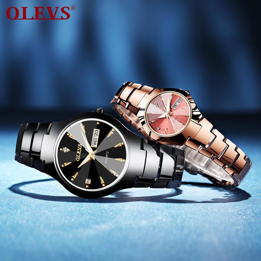 Movimento de Quartzo Relógio de Luxo Tungstênio à Prova Olevs Japão Casal Dwaterproof Água Relógios Casuais Feminino Presente Data Automática Relógio Masculino Aço