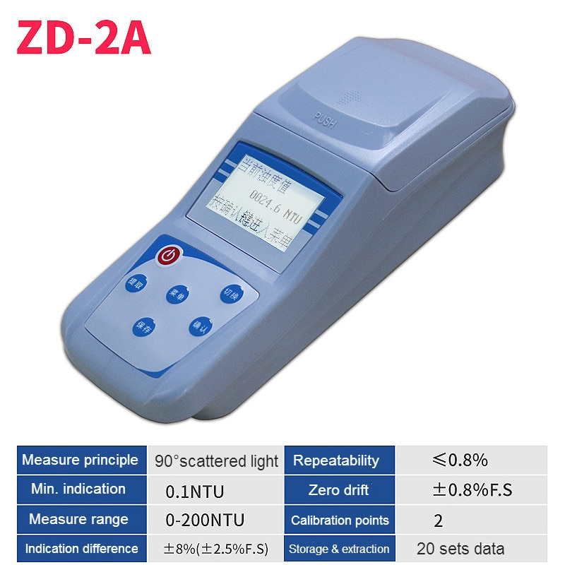 المحمولة Turbidimeter الحواسيب الصغيرة المتناثرة ضوء التعكر متر ذكي مقياس الألوان قياس المدى 0-200NTU 0.1 NTU ZD-2A