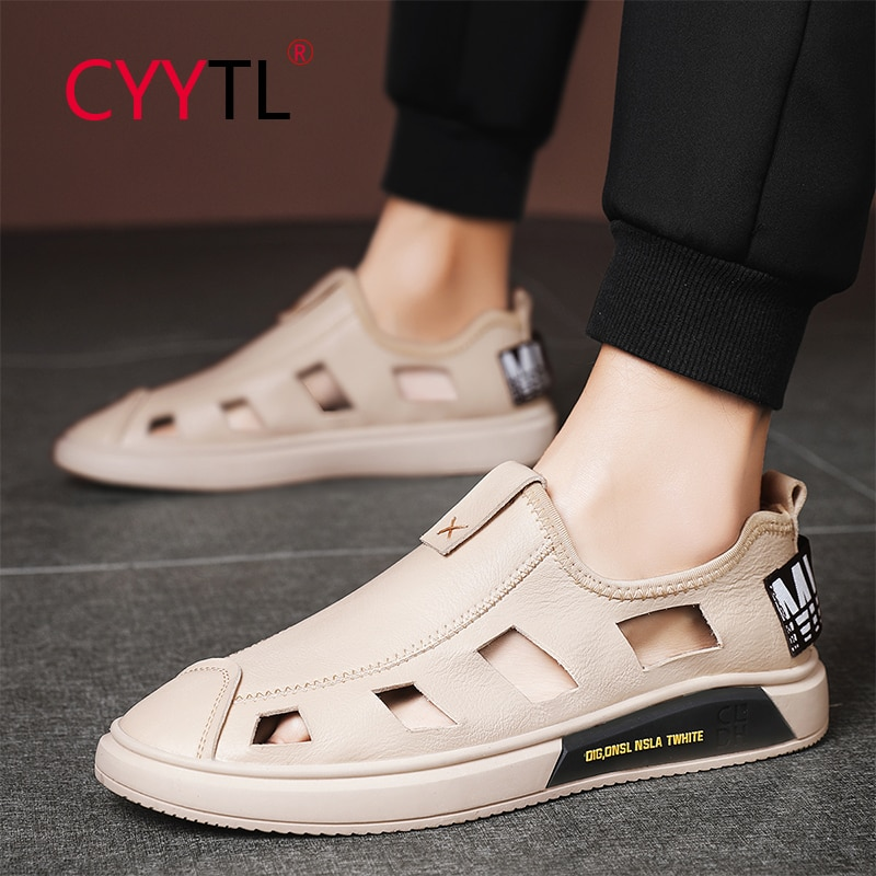 CYYTL Men Sandals Leather Beach Shoes Outdoor Summer Sport Slip on Slippers Comfort Closed Toe Breathable Flip Flops for Male