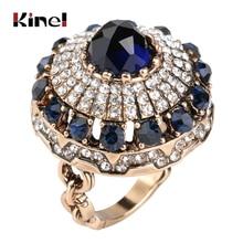 Kinel Hot luxe grand anneau en pierre naturelle Vintage cristal Antique anneaux pour les femmes couleur or fête cadeau de noël bijoux turcs