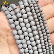 Perles en pierre naturelle, grosses, en hématite, caoutchouc mat et givré, pour la fabrication de bijoux, accessoires, taille Bracelet à bricoler soi-même, 6, 8mm