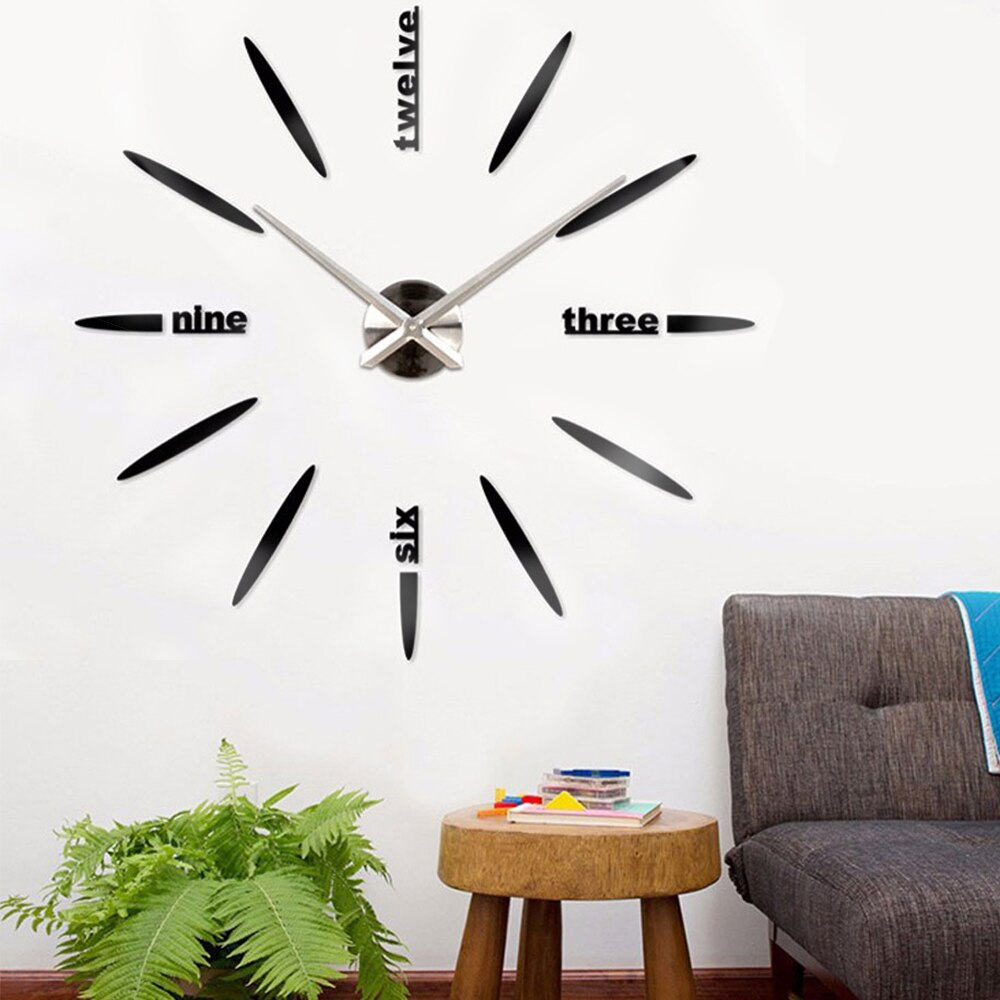 3D DIY Wall Clock Modern Design Home Decor Acrylic Silent Wall Sticker Clocks for Living Room Large Clock Watch