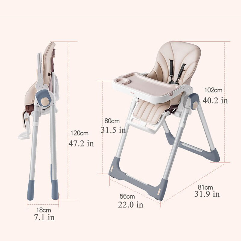 Babyinner Baby Highchair Portable Foldable Baby Dining Chair Height-adjust Multifunctional Feeding Dining Chair 0-4Y enlarge