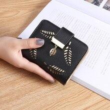 Frauen Geldbörse Zipper Leder Damen Brieftasche Frauen Luxus Marke Kleine Weibliche Brieftasche Hohl Blätter für Kreditkarten