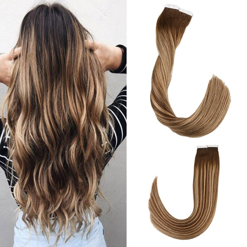 alishow tape in remy human hair extensions double drawn hair straight invisible skin weft pu tape on hair extensions Toysww Balayage Tape in Hair Extensions Remy Human Hair 20g 40g/pack Straight Seamless Skin Weft Tape Hair Extensions