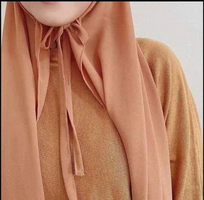 Moda simples bolha chiffon com corda conveniente envoltório hijab feminino cor sólida muçulmano hijabs lenço turbanet
