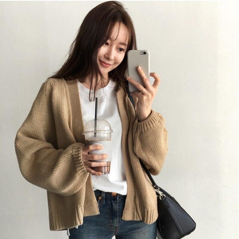 Chaqueta corta de punto para mujer chaqueta de invierno Vintage suelta Casual gruesa caliente suéteres tapas de tendencia suéter para mujer