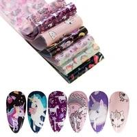 10pcs unicorn design holographic nail foil set cute animals mix colorful nail art transfer sticker decals decoration wraps
