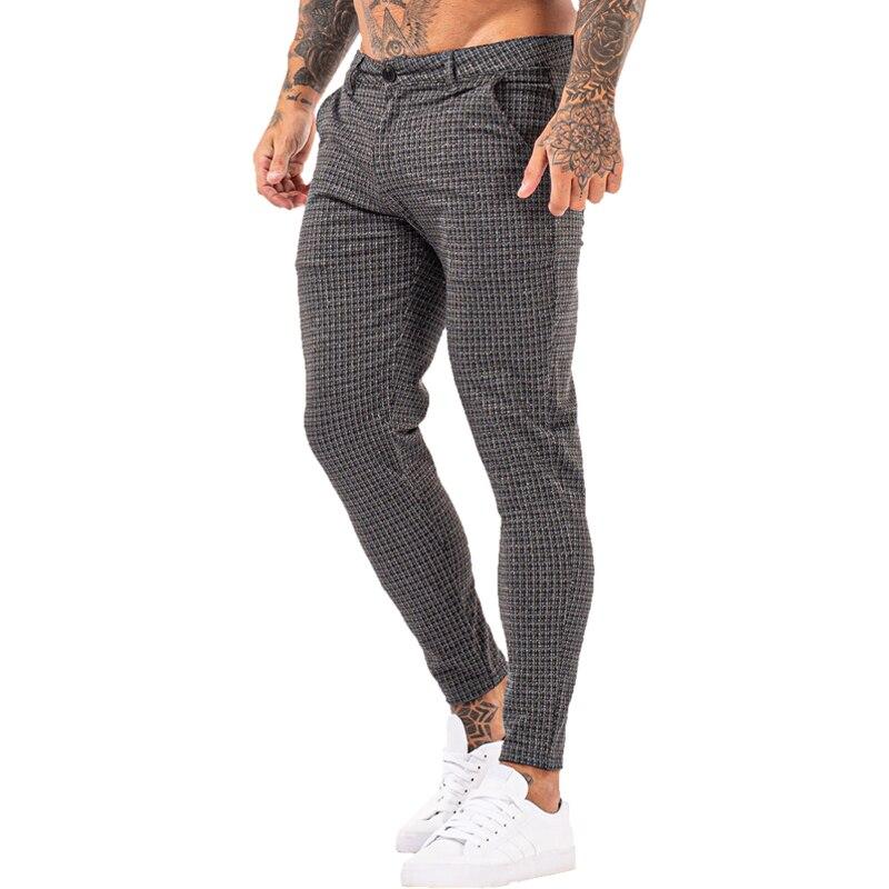 Gingtto chinos calças dos homens magro super estiramento chino calças ajuste fino calça casual xadrez cintura elástica londres moda zm394