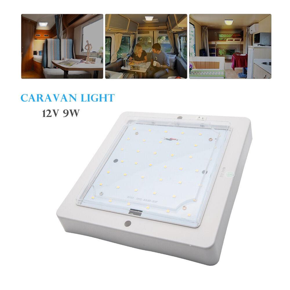 12v/24v 9w led dome luz interior do carro luz de teto leitoso capa escudo lâmpada do telhado para motorhome caravana para campista van barco