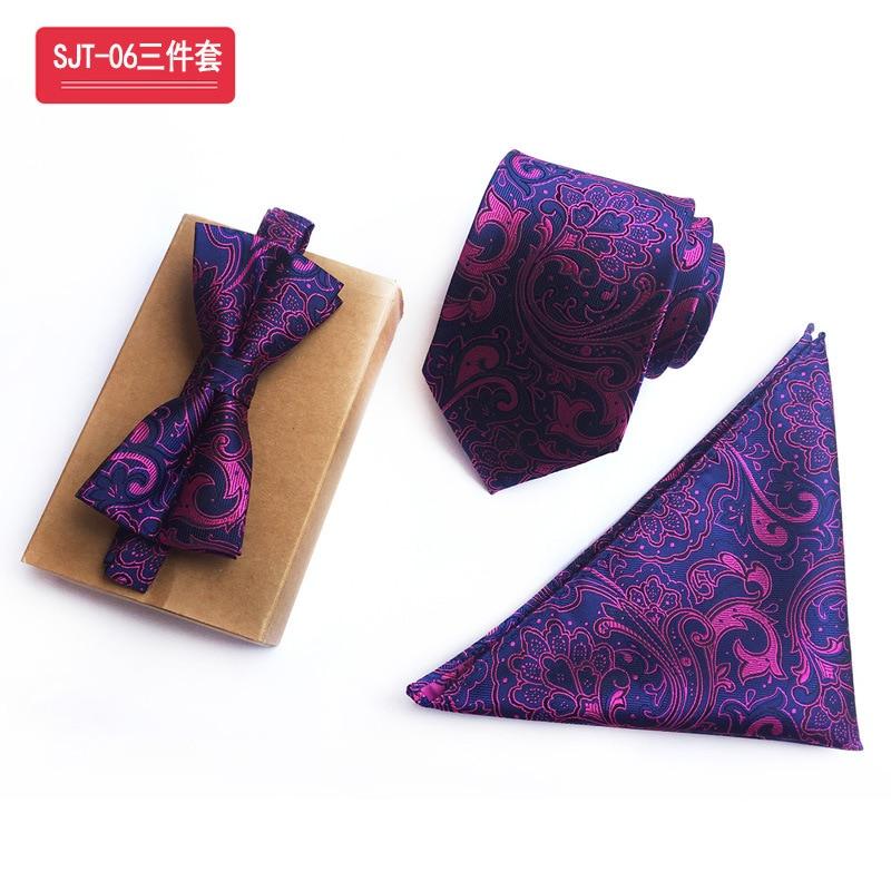 Matagorda corbata de hombre azul oscuro Fondo corbatas & pajarita & pañuelo conjunto barroco púrpura impresiones de desplazamiento regalo de boda Gravata pañuelo