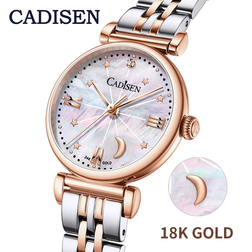 2021 CADISEN 18K GOLD Women Watches Luxury Brand Fashion Roman Watch Fritillary Pearl Star Moon Ladies Watch Quartz Wristwatch enlarge