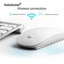 Kebidumei 2 en 1 sans fil double Mode Bluetooth 5.0 + 2.4Ghz souris 1600 DPI Ultra-mince ergonomique Portable souris optique pour PC