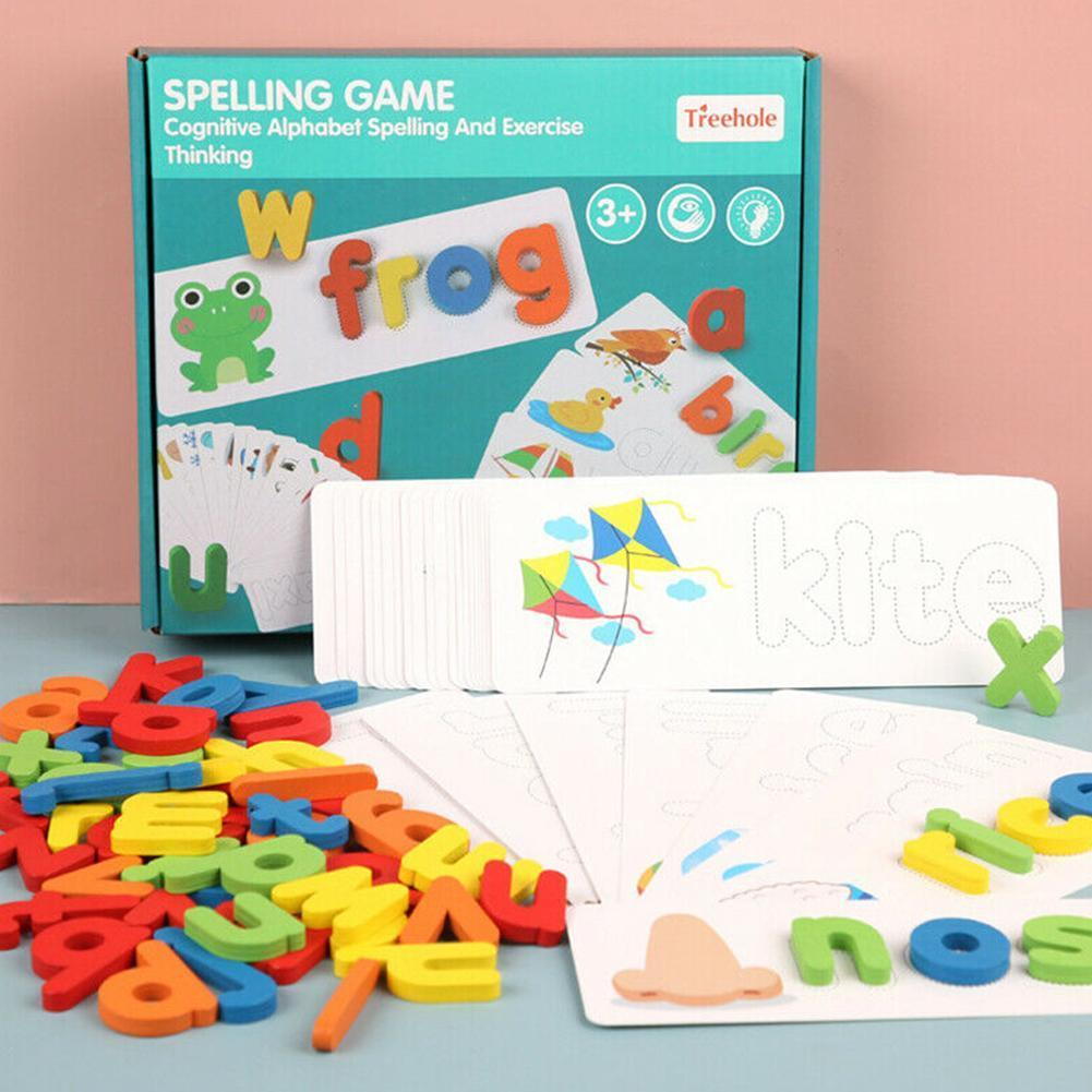 English Alphabet Letters Toy Wood Early Education Cognitive Practice Words Word Spelling For Children Toys Spelling Game J7W9