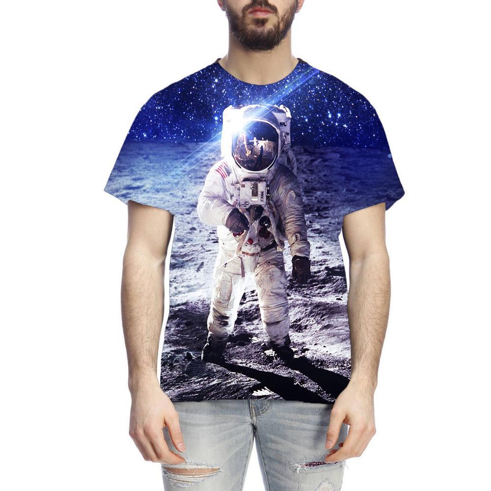 Летняя Новинка 2020, Мужская футболка с 3D принтом космонавта, футболка с космическим кораблем 3D Harajuku, модная Уличная Повседневная футболка