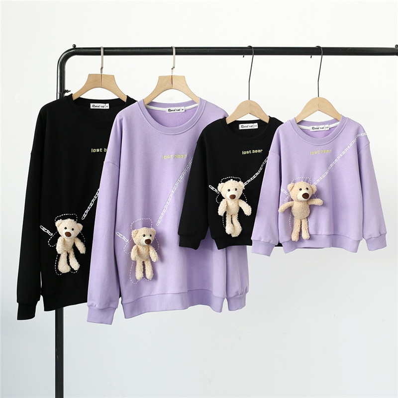 Family Sweatshirts for Adult Baby Kids Letter Embroidered Bear Pendant Tops Mother Daughter Son Matc