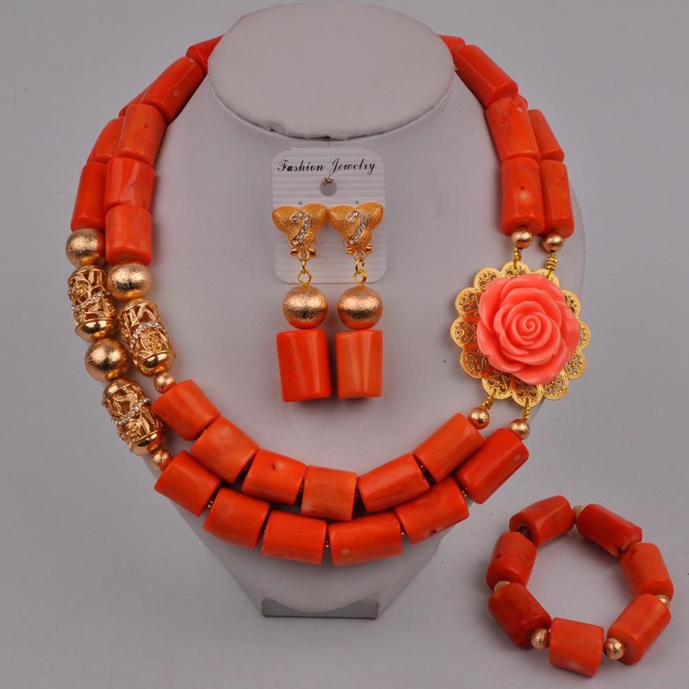 Fashion Orange Nigerian Wedding Coral Necklace African Beads Jewelry Set Women Bridal Jewelry Sets 314-B2