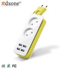 Rdxone EU ปลั๊ก Strip แบบพกพา Extension Socket Outlet 4 USB Wall Charger สมาร์ทเดสก์ท็อปซ็อกเก็ต