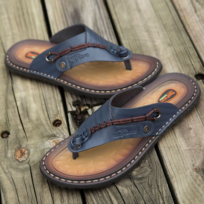WEH handmade leather slippers Summer Fashion Men Flip Flops outdoor slippers Breathable Comfortable Men Flip-Flops Big Size 47