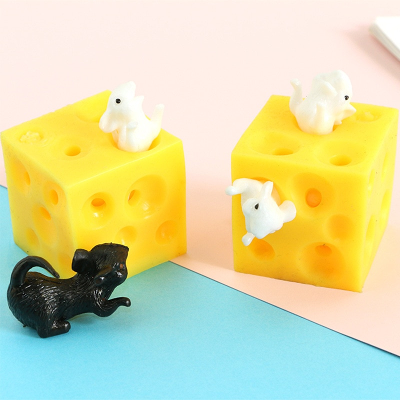 Push Pops Mice And Cheese Finger Squeeze Slime Extrusion Stretchy Mice Hide In Cheese Hole Block Latex Stressbusting Fidget Toy enlarge