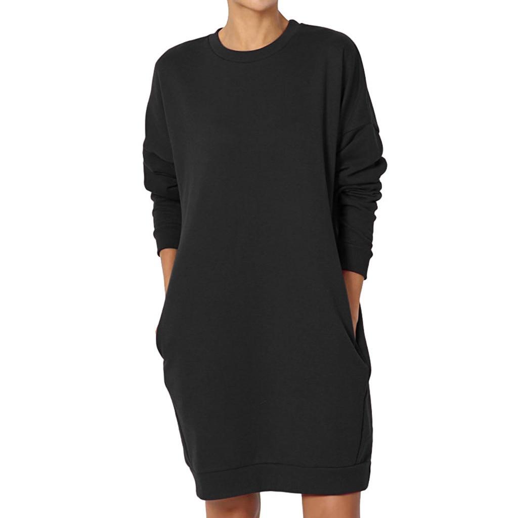 Plus Größe Pullover Sweatshirt Kleid Frauen Casual Solide Vintage Baggy Party Mini Kleid Tasche Solide Kaftan Vestidos Dropship Robe