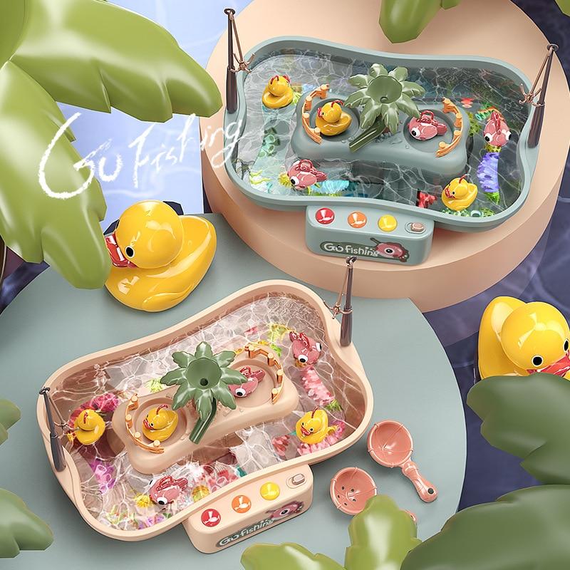 Детские рыболовные игрушки, электрические вращающиеся музыкальные светящиеся Детские игрушки, обучающие детские игрушки для ванной, уличн...