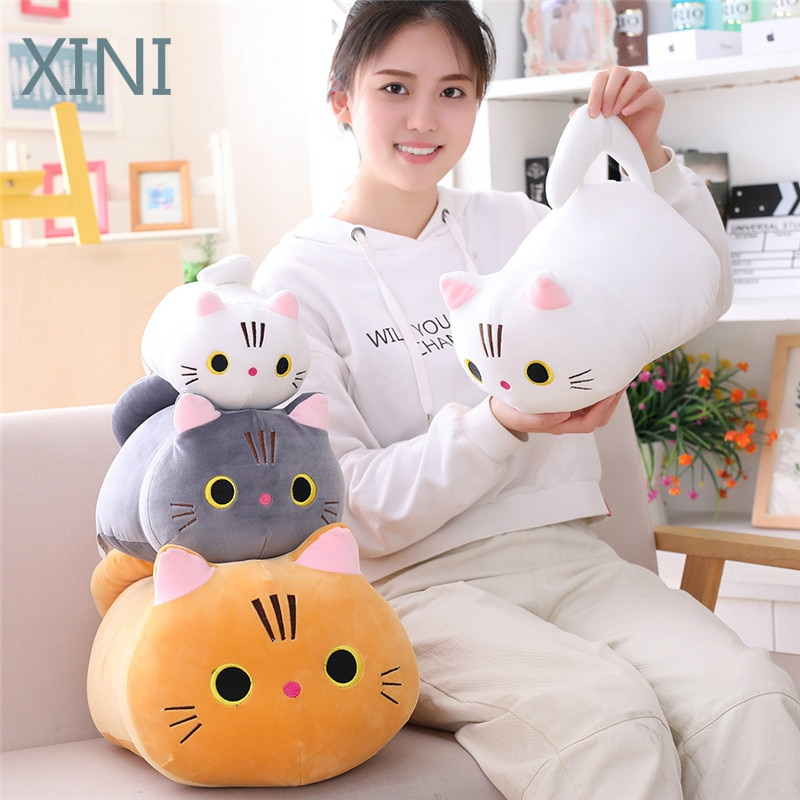 dropshipping cute kawaii cat with bow plush dolls toys gift stuffed soft doll cushion sofa pillow gifts xmas gift party decor 25/35/50cm Cute Cat Plush Toys Soft Stuffed Kawaii Pillow Cat Plush Dolls For Kids Gift