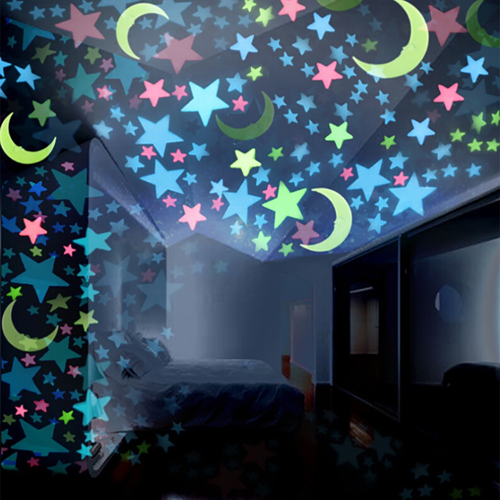 * 100 шт. 3D звезды светится в темноте светящиеся на стену наклейки для детской комнаты гостиная настенная наклейка для комнаты постер для домашнего декора 86