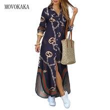 MOVOKAKA Fashion Dark Blue Print Long Dress Women 2021 Elegant Casual Robe Long Sleeve Dresses Woman