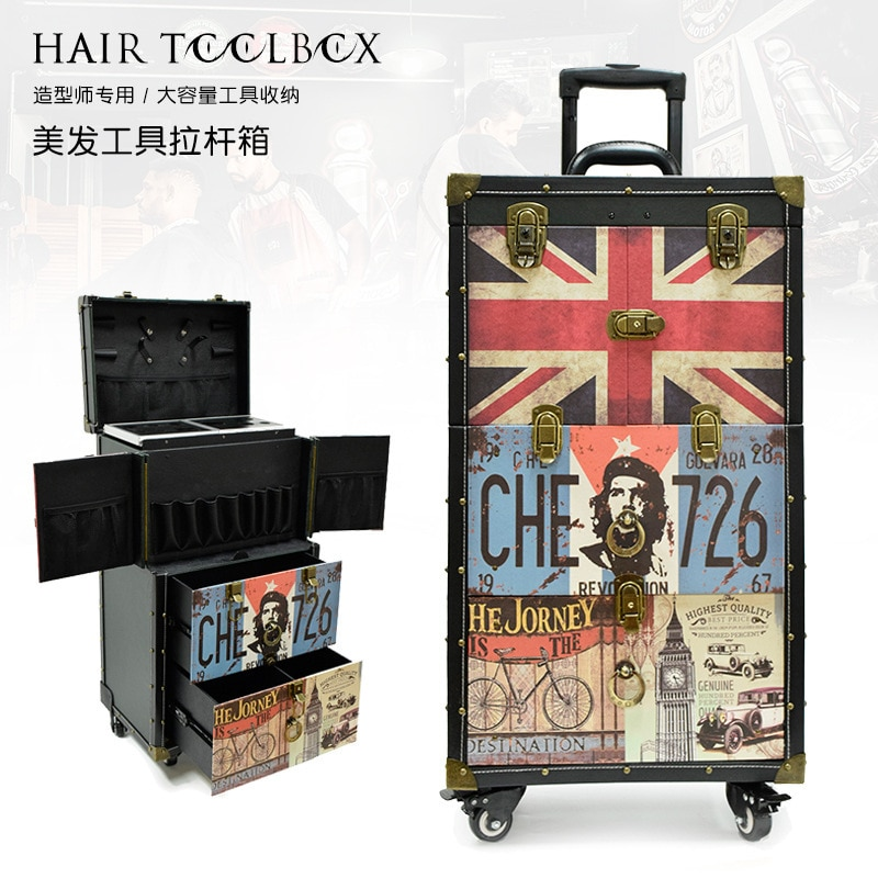 Spot Canvas Suitcase Rolling Train Printing Trolley Case Hair Salon Tool Trimmer Storage Barber Custom Clippers Haircut Tool Box