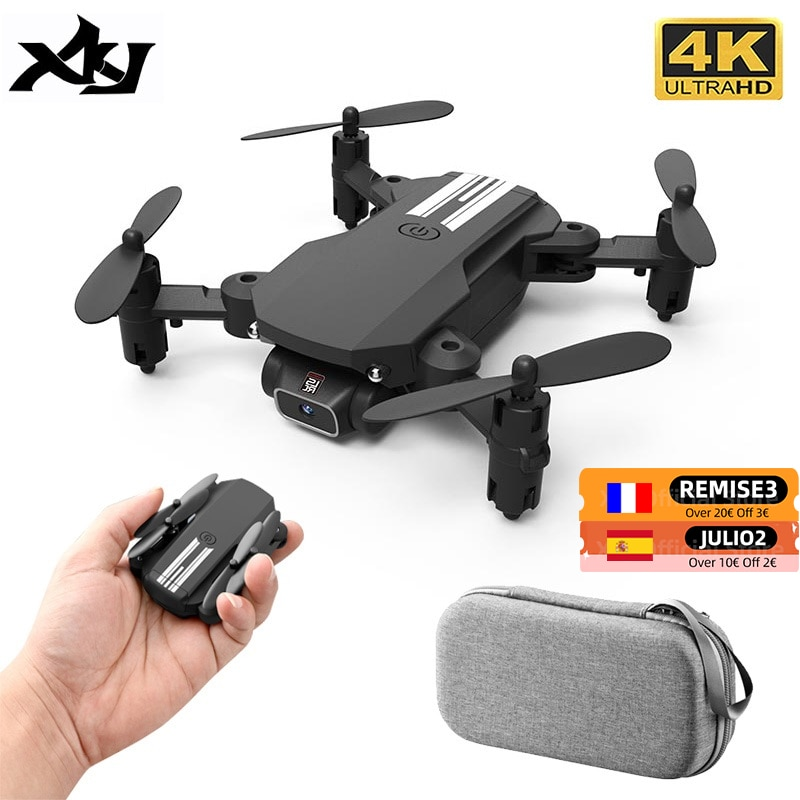 XKJ-Mini Drone 4K 1080P 480P ، كاميرا RC قابلة للطي ، كوادكوبتر ، WiFi Fpv ، ضغط الهواء ، تثبيت الارتفاع ، لعبة طائرة بدون طيار باللونين الأسود والرمادي للأطفا...