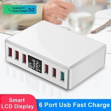 Chargeur rapide USB Tongdaytech Multi 6 ports USB Charge rapide QC 3.0 écran Lcd portable pour Iphone Xiaomi Samsung