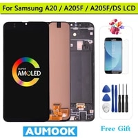 aumook amoled for samsung a20 a205 lcd display with touch screen digitizer assembly replacement samsung lcd screen with frame