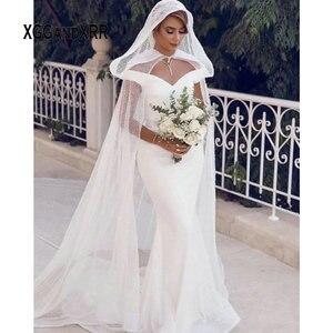 Romantic Mermaid Wedding Dress 2020 Sparkling Fabric V Neck Off Shoulder Backless Chapel Train Long Bride Dress With Cape