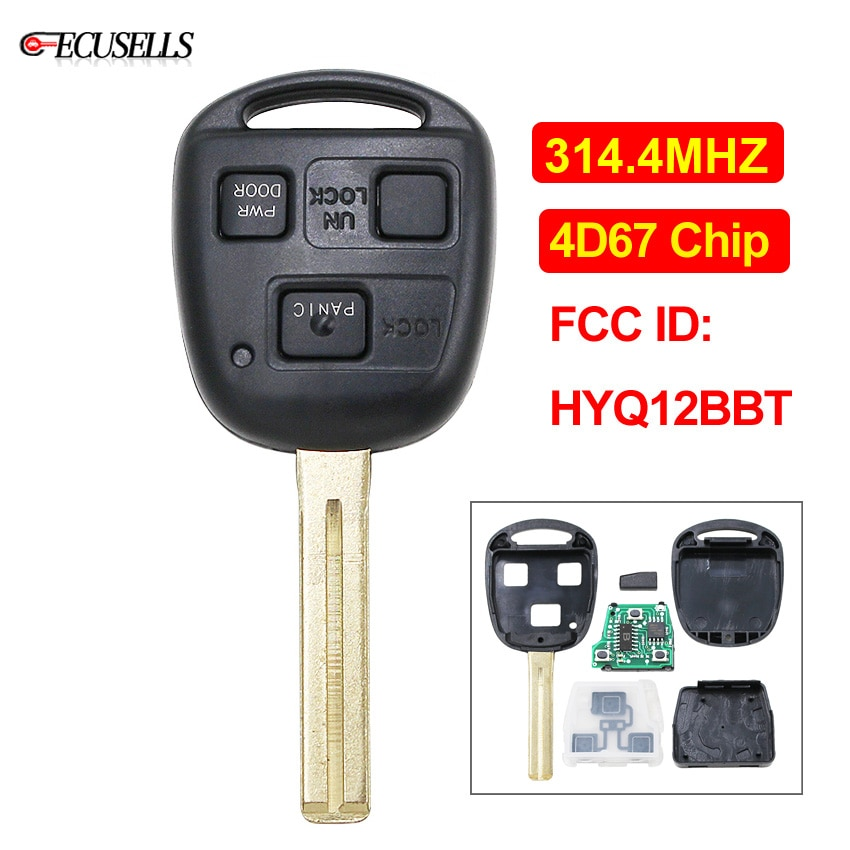 3 botón remoto llave de coche Fob 314,4 Mhz 4D67 Chip hoja sin cortar para Lexus ES330 LS430 SC430 FCC ID HYQ12BBT... 1511A-12BBT