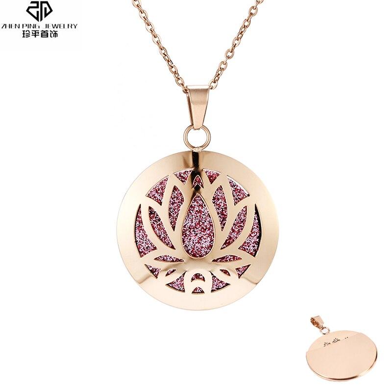Colgante difusor de aceite esencial Color oro rosa para mujer Acero inoxidable hueco aromaterapia difusor collar de Perfume