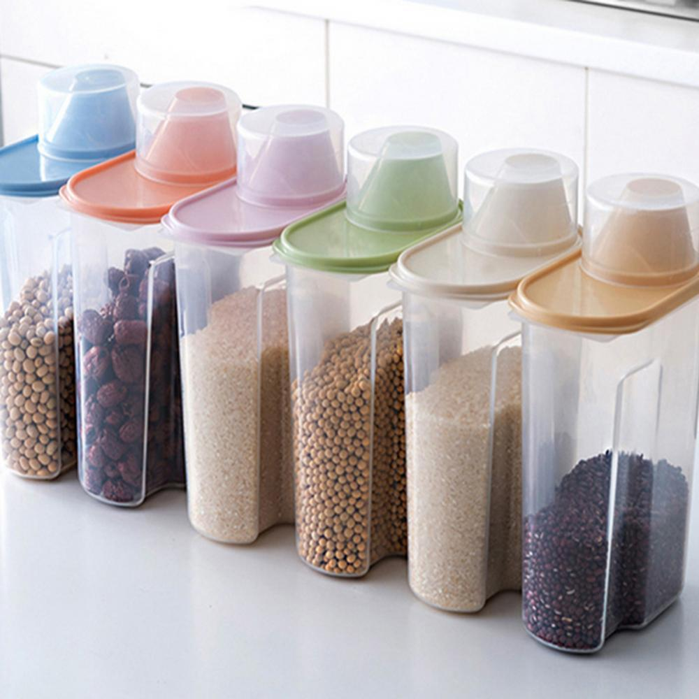 80% hot sale! ! ! 4Pcs 1.9 / 2.5L Kitchen Sealed Dry Food Grain Flour Storage Sealed Can Food Grain Rice Grocery Can