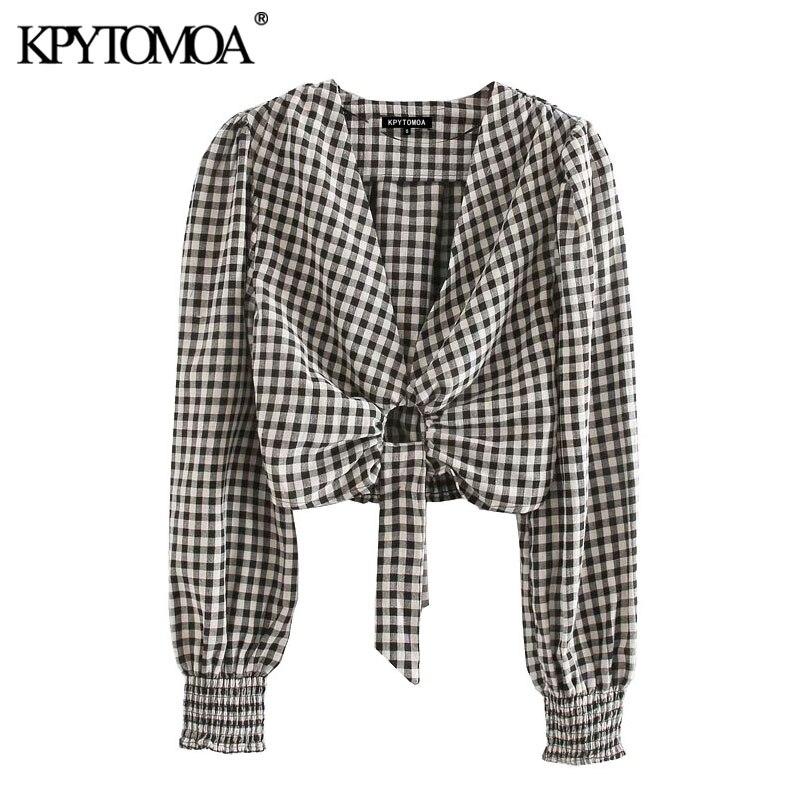KPYTOMOA Women 2020 Fashion Tied Detail Plaid Cropped Blouses Vintage V Neck Long Sleeves Female Shirts Blusas Chic Tops