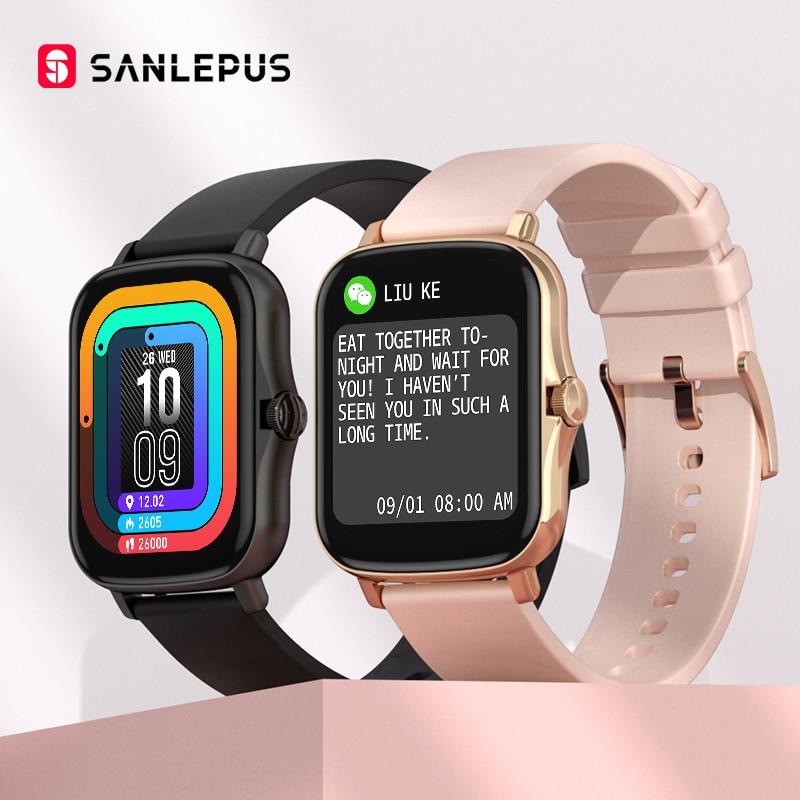 SANLEPUS 2021 جديد ساعة ذكية مقاوم للماء سوار لياقة بدنية الرجال النساء Smartwatch مراقب معدل ضربات القلب GTS 2 ل أندرويد iOS