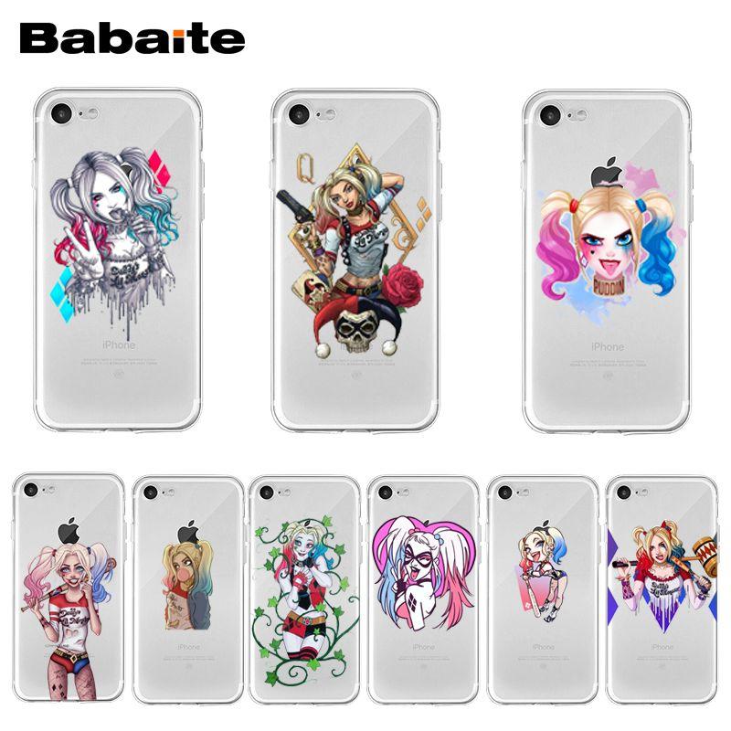 Babaite harley quinn esquadrão suicida joker wink coque escudo caso de telefone para iphone 11 pro xs max xr 8 7 6s plus x 5 5S se