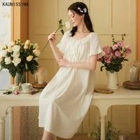 short sleeve cotton nightdress women summer nightgowns loose plus size court princess sweet sleeping dress night gown homewear