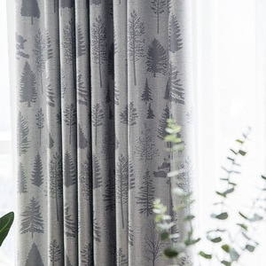 Modern Curtains For Living Room Bedroom Minimalist Ideas Jacquard Printed Blackout Curtain Fabric Office General Pleat