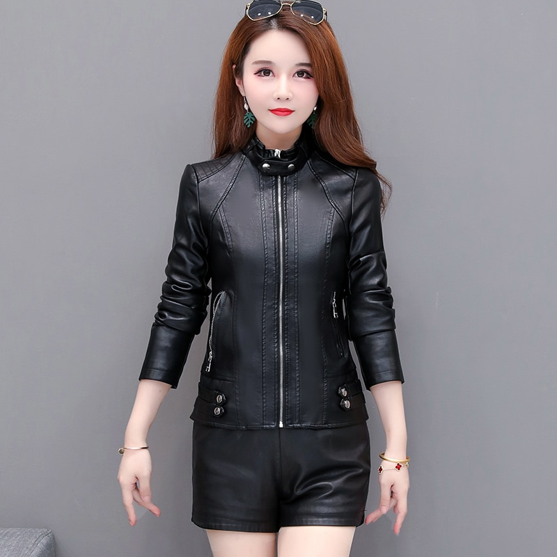 Autumn And Winter New Artificial Leather Women's Jacket Short Round Neck Zipper Handsome Trendy Motorcycle Clothing enlarge