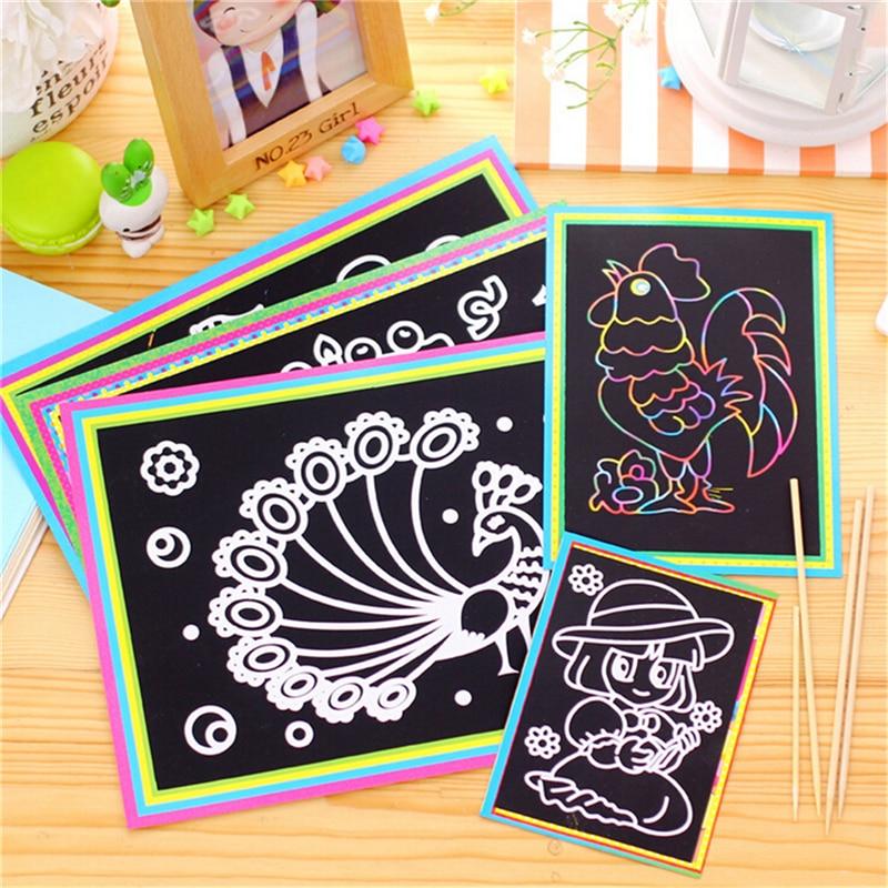1Pcs 12x 9cm Scratch Art Paper Magic Painting Paper With Drawing Stick For Kids Toy Colorful Drawing