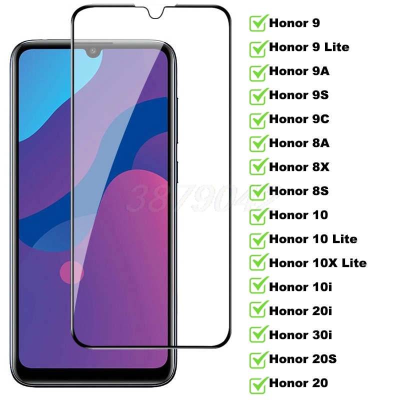9D Full Tempered Glass For Huawei Honor 9 10 10X Lite 9A 9C 9S 8A 8S 8X Screen Protector Honor 10i 20i 30i 20S Protective Glass